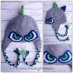 Hawk eyes and spikes, crochet pattern by Misty Makes. Go Seattle Seahawks!!
