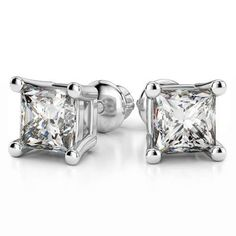 Fair and square: The Four Prong Princess Diamond Stud Earrings in White Gold bring a sparkling flavour to any outfit, from casual jeans to power suit, a dainty sundress to a bombshell lace number!  www.brilliance.com
