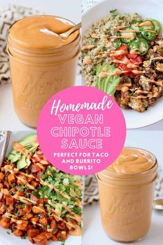 Made with a creamy cashew base, this Vegan Chipotle Sauce recipe is incredibly flavorful, velvety smooth and easy to make in 5 minutes! Vegetarian Recipes Dinner, Good Healthy Recipes, Raw Food Recipes, Mexican Food Recipes, Paleo Dinner, Ww Recipes, Dinner Recipes, Vegan Chipotle Sauce Recipe, Homemade Chipotle