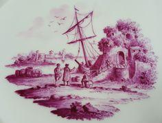 KPM Berlin Durchbruchteller, Kauffahrtei-Szene in Purpur Camaieu um 1800 #2 in Antiquitäten & Kunst, Porzellan & Keramik, Porzellan | eBay