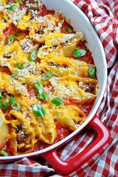 Taco Stuffed Shells...serve guacamole and sour cream on the side