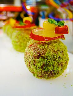 Chocolate rum truffles with candied apple and lemon garnish - City Chef Catering