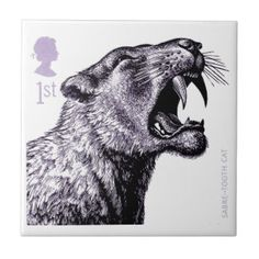 2006 England Ice Age Sabre-Tooth Cat Postage Stamp Tile