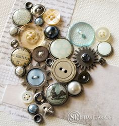 #papercraft #button projects These are on canvas - great #homedecor idea!