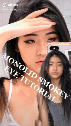 Makeup On Asian Eyes, Asian Makeup Monolid, Monolid Eyeliner, Makeup For Small Eyes, Asian Makeup Looks, Dark Eye Makeup, Korean Eye Makeup, Simple Eye Makeup, Cute Makeup