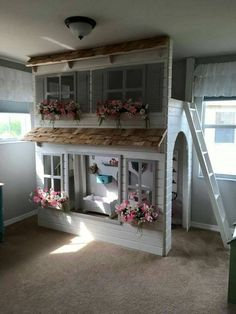 Layla dollhouse loft bed, playground below. Options bunk bed version, storage single bed, slide & stairs w / built-in storage. Trundle Bed With Storage, Built In Storage, Bunk Beds With Stairs, Kids Bunk Beds, Benjamin Moore, Stair Slide, Bed Slide, Stair Plan, Dreams Beds