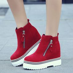 Fashion Increased Thick Bottom Wedge Ankle Boots sold by Shoes Party on Storenvy Wedge Ankle Boots, Shoe Boots, Calf Boots, Sock Shoes, Wedge Heels, Shoes Heels, Sneakers Fashion, Fashion Shoes, Platform Boots