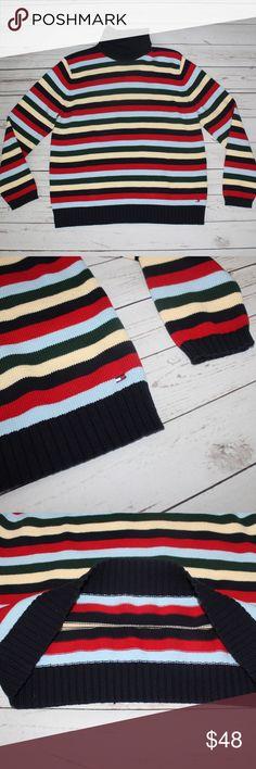 "Tommy Hilfiger 90s Striped TurtleNeck Sweater Amazing Striped Tommy Hilfiger Sweater Long Sleeve  100% Cotton 23"" Length 21"" Chest Tommy Hilfiger Sweaters Cowl & Turtlenecks"