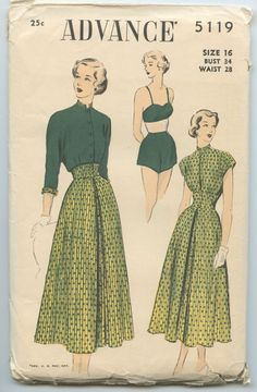 1940's Advance 5119 Vintage Sewing Pattern Misses' Mix & Match Separates Bra Top Shorts Blouse Reversible Jacket Button Front Skirt Bust 34 by GreyDogVintage on Etsy