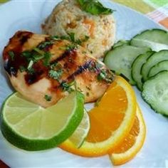 Tropical Grilled Chicken Breast Recipe Main Dishes with orange juice, lime, honey, crushed red pepper flakes, boneless skinless chicken breast halves, chopped fresh cilantro
