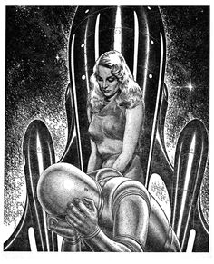 Virgil Finlay - Women of Fantasy and Science Fiction Art - 40 Trading Card Book Sci Fi Kunst, Comic Kunst, Comic Art, Comic Books, Arte Sci Fi, Sci Fi Art, Fantasy Kunst, Sci Fi Fantasy, Art Macabre