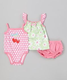 Another great find on #zulily! Lime Daisy Bodysuit Set - Infant by Peanut Buttons #zulilyfinds