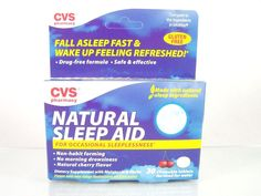 #CVS Pharmacy #natural #sleep aid 30 count ct. size #chewable #cherry #flavored #tablets tabs with #melatonin and herbs for #sleeplessness and #insomnia comparative to #MidNite and with non-habit forming, drug-free formula, brand new and unused in original manufacturer's factory sealed blue and white retail protective cardboard box packaging…