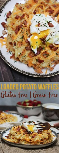 These loaded potato waffles are a gluten free and grain free brunch recipe that's sure to impress your weekend guests! #waffle #loadedpotato #brunch