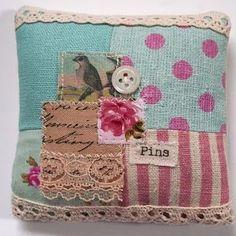 precious embellished patchwork pincushion