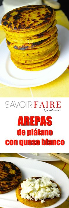 Arepas de plátano con queso blanco - SAVOIR FAIRE by enrilemoine Fun Easy Recipes, Easy Meals, Colombian Breakfast, Colombian Cuisine, Colombian Recipes, Colombian Arepas, Venezuelan Food, Yummy Food, Tasty