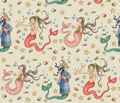 Bathroom decal?  Mermaids fabric by catru on Spoonflower - custom fabric