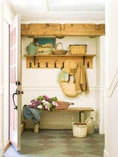 mudroom with checkerboard floor & rustic elements