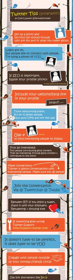 Twitter tips and other Twitter infographics at http://ibrandstudio.com/inspiration/amazing-twitter-infographics