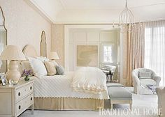 Stone House - Traditional Home-Design Chic-Phoebe Howard Interiors-Like the double mirrors above bedside chests. Dream Bedroom, Home Bedroom, Master Bedroom, Bedroom Decor, Bedroom Ideas, Airy Bedroom, Bedroom Setup, Light Bedroom, Master Suite