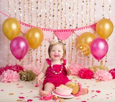 Baby smiling with pink icing on face for Pink and Gold Baby Cake Smash Photo By Brandie Narola Photography 1st Birthday Photoshoot, 1st Birthday Parties, Birthday Party Decorations, Girl Birthday, Mermaid Birthday, Burlington Baby, Burlington Ontario, Cake Smash Photography, Birthday Photography