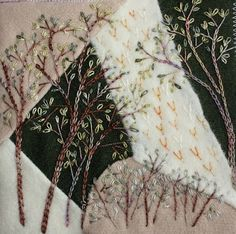 I ❤ crazy quilting . . . Ritva stitched this Woodland theme (wool)