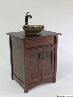 Furniture For Sale - Mission Style Artsink Vanity by Brian Brace Fine Furniture at ArtsyHome Craftsman Style Bathrooms, Craftsman Style Decor, Bungalow Bathroom, Craftsman Furniture, Cabin Bathrooms, Bathroom Wall Cabinets, Rustic Bathroom Vanities, Bathroom Sets, Bathroom Furniture