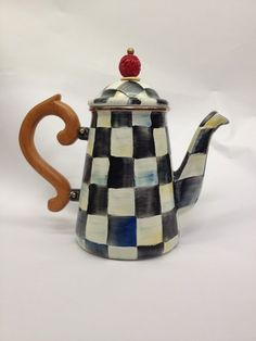Mackenzie Childs Courtly Check Coffee / Tea Pot Victoria and Richard