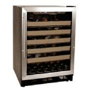 Haier 50 Bottle Wine Cellar Black by Haier. $541.33. HVCE24DBH Features: -Wine cellar.-Capacity: 50 bottle.-Electronic temperature control with led display.-Automatic settings for red and white wines.-6 Slide out chrome storage racks with wood trim.-Soft interior lighting.-Full length grip handle.-Full view blue gray tint double pane glass door with brushed aluminum door trim.-Reversible door.-UL/CUL listed.-EEC listed. Dimensions: -Overall dimensions: 34.25'' H x ...