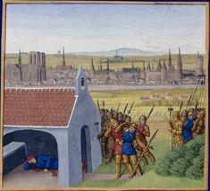 """15-century skyline of Paris, from a few miles away. """"Dagobert I takes refuge in Saint-Denis,"""" by Jean Fouquet, 1455-60. Grandes Chroniques de France. Paris, BnF, département des Manuscrits, Français 6465, fol. 57 (Cinquième Livre)"""