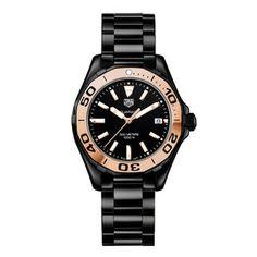 TAG Heuer Aquaracer Black Ceramic And Rose Gold Ladies Watch