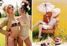 Plumes & Dentelles (2005). MODELS: Rosie Huntington-Whiteley and Melissa Rose Haro. PHOTOGRAPHER: Ellen Von Unwerth.