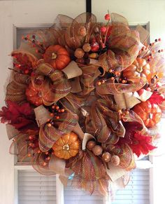 10 off Fall Mesh Wreath with Pumpkins by crossingstems on Etsy