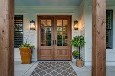 House Front Door, House Front Design, Front Porch, Front Entry, Craftsman Front Doors, Craftsman Porch, Wood Front Doors, Exterior Remodel, Interior Exterior