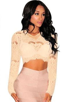 eac16a38ded5 Apricot Sheer Lace Long Sleeves Crop Top Dropship Price: US$ 4.83 Clubwear  Tops,