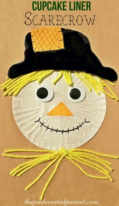 Cupcake Liner Scarecrow Craft - fall / autumn arts & crafts for kids…