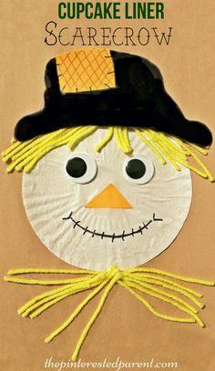 Cupcake Liner Scarecrow Craft - fall / autumn arts & crafts for kids…
