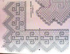 """Da revista """"Muestras y motivos - manteles 2"""", uma ponta com motivos geométricos:     manela"""