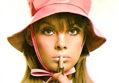 Jean Shrimpton, Yardley of London, 1960s. pastels....faux lashes...mascara (thickish) & tons of powder blue eyeshadow...when pick or green won't work....10 years of this trend....all of the 60's...