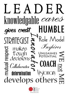 Inspirational Leadership idea. Stick this in your office. Definately a good benchmark as to what a leader should be.