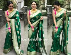 Amruta Khanvilkar attended a wedding recently wearing a bottle green banarasi silk saree by Ritu Seksaria paired with contrast pink sleeveless blouse. She accessorized her outfit with a gold choker by Waman Hari Pethe Sons, nose ring and pink bangles. Center parted sleek bun rounded off her look!