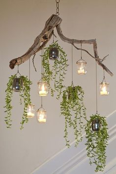 The found materials and small trailing succulents … – Container Gardening - wood work diy Green Chandeliers, Modern Chandelier, Industrial Chandelier, Chandelier Ideas, Outdoor Chandelier, Industrial Pipe, Chandelier Lighting, Backyard Lighting, Rustic Lighting