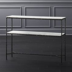 Handmade metal console table with honed white marble with grey veining and whisper-thin iron leg. Marble Console Table, Modern Console Tables, Record Cabinet, Table 19, Furniture Covers, White Marble, Entryway Tables, Metal, Distance