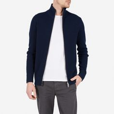 """Extra-fine Merino wool and a textured waffle knit set this zip sweater apart from the rest  Model is 6'1"""" and wearing a medium Features a two-way zipper and reinforced ribbing at cuffs and hem Questions? Email fit@everlane.com"""