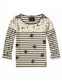 Maison Scotch Sailor Inspired Cotton Top - - Soft cotton top in a relaxed fit - Beige and black stripe with sailor inspired illustrations - Boat neckline with star stud fastening to the shoulders - Satin star patch detailing -Small splits to the sides