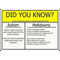 "This chart is good information about meltdowns. *** But please remember that adults with ASD have ""meltdowns"" too, although they are very different***. As an adult it's not possible to throw a tantrum so the issues shown on the diagram manifest differently. (And differently in different ASD adults.) What's needed is acceptance and helping that person decompress and destress before a meltdown happens. --  http://www.theautismdad.com"