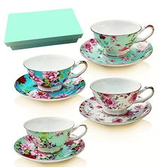 Tea Cup and Saucer Set of 4 with Gift Box , Floral Tea Cups, 8 Oz.Bone China Porcelain *** Continue to the product at the image link.