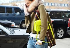 11 Ways To Wear A Neon Yellow Bag via @WhoWhatWear