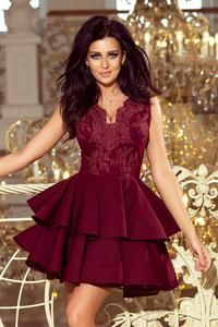 Numoco CHARLOTTE - Exclusive dress with lace neckline - Burgundy color Strapless Party Dress, Model Outfits, Lace Bodice, European Fashion, Special Occasion Dresses, Flare Dress, Nasa, Nice Dresses, Fashion Dresses