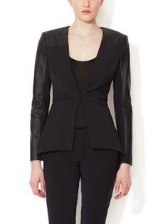 YIGAL AZROUEL - V-Neck Leather Sleeve Jacket